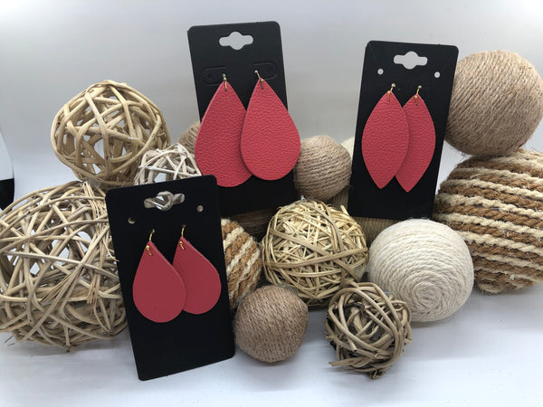 Bright Coral Pebble Textured Leather Earrings