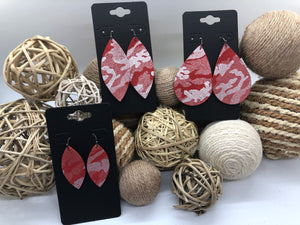 Silver Camo on Red Suede Leather Earrings