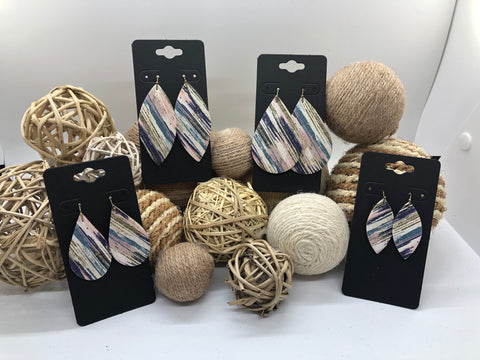 Blues, Pink, and Green Variegated Stripes on White Cork Leather Earrings