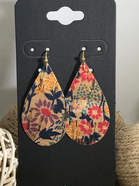 Bright Flowers Printed on Cork with Gold Highlights