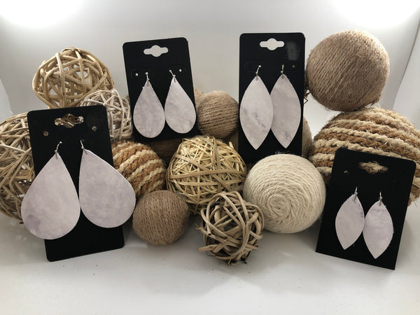 White and gray marbled leather earrings