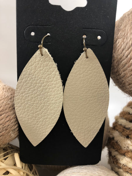 Light taupe leather earrings