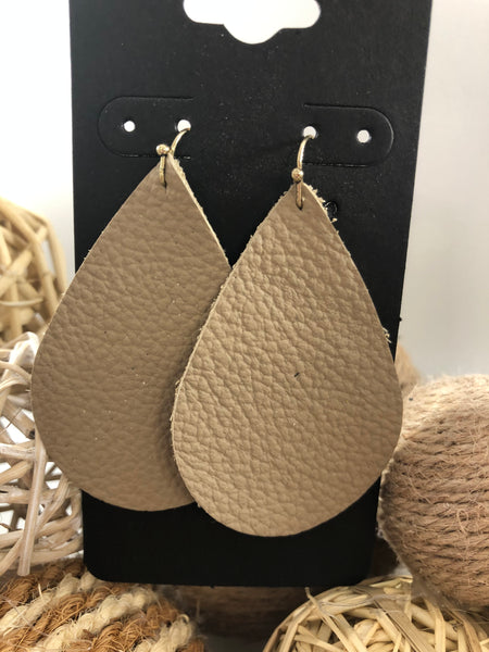 Taupe leather earrings