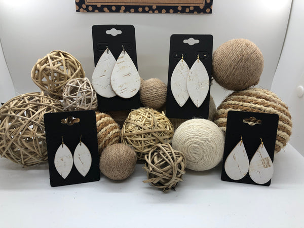 White cork on leather earrings