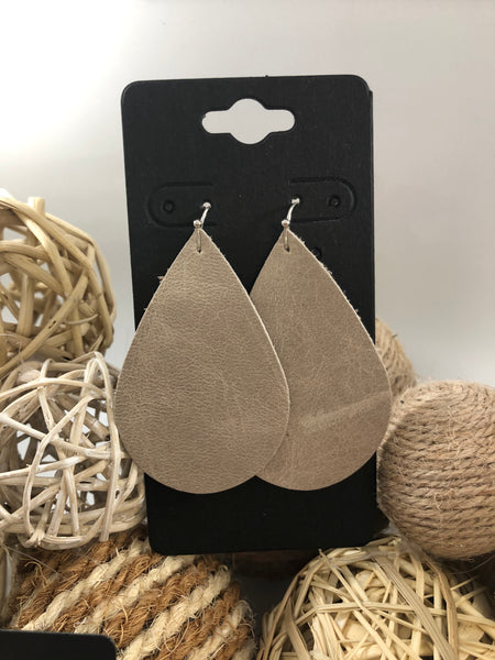 Distressed taupe leather earrings