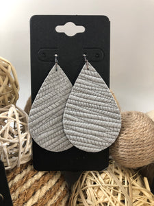 Light Gray Palm Leaf leather earrings