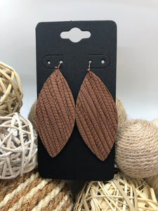 Medium brown palm leaf textured leather earrings