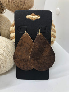 Dark Brown and Brown Leather Earrings with a Distressed Finish