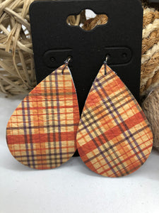 Orange Fall Plaid Leather Earrings