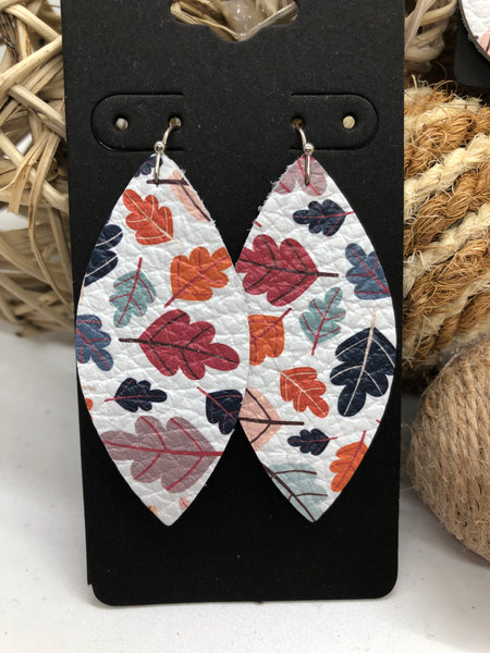 Multi-colored Fall Leaves on White Leather Earrings