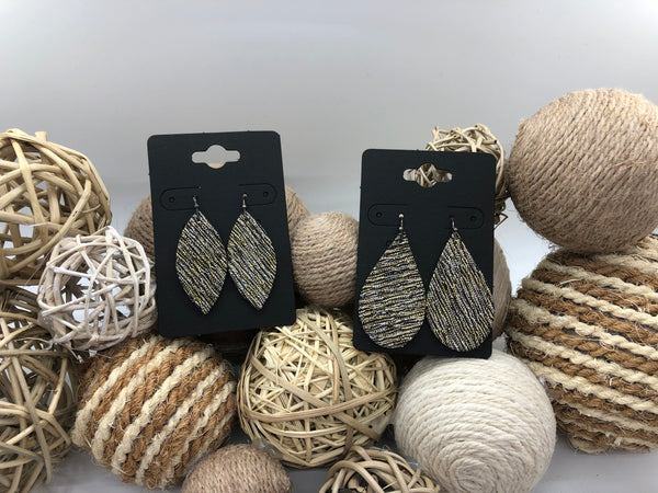 Gold and Silver Metallic Woven Fabric on Leather Earrings
