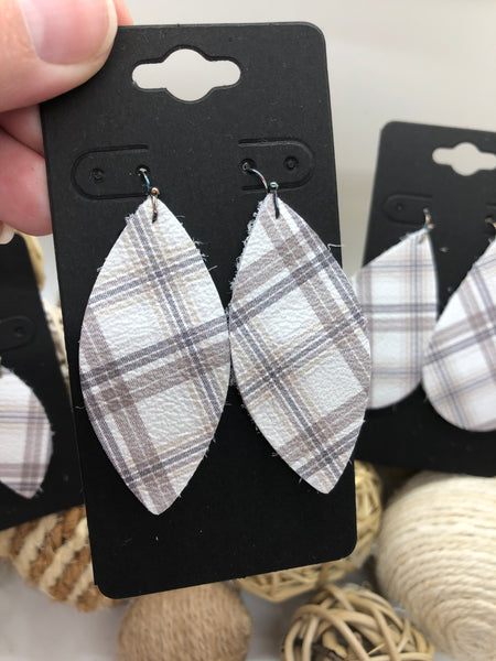 White Leather with Taupe and Gray Plaid Leather Earrings