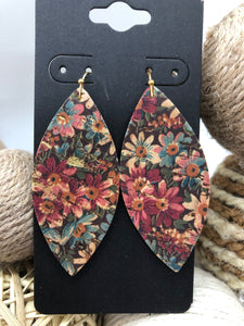 Pink and Blue Flowers Printed on Cork Leather Earrings