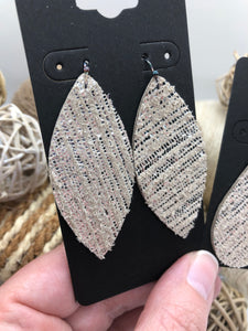 Silver Rain Stripes on the Backside of Cream Colored Leather Earrings