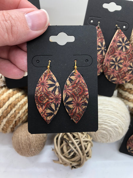 Pinwheel and Flower Print on Cork Earrings
