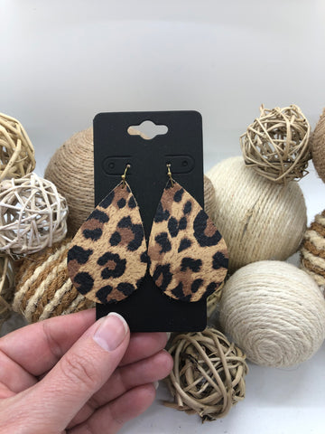 Black, Brown and Tan Leopard Print Leather Earrings