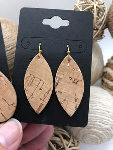 Cork fabric on Leather with Rose Gold Highlights Earrings