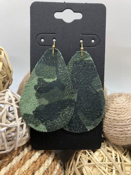 Camo Printed Suede Leather Earrings