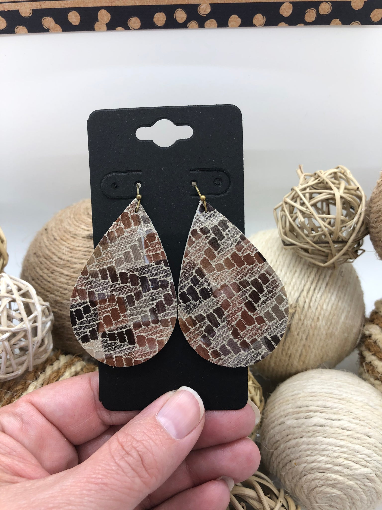 Shades of Brown and Tan Abstract Print Leather Earrings