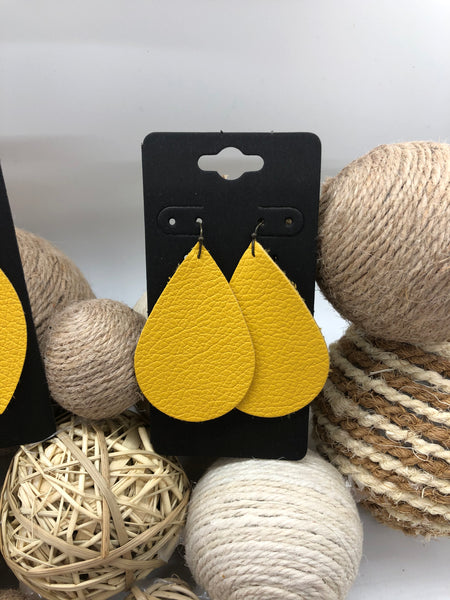 Lemon Yellow Pebbled Leather Earrings