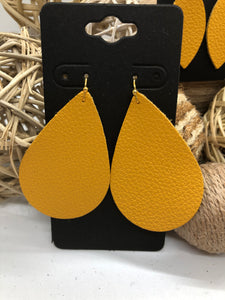 Dark Yellow Pebbled Leather Earrings