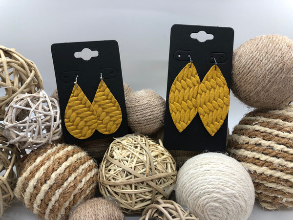 Mustard Yellow Fishtail Textured Leather Earrings