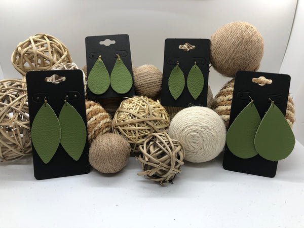 Lime Green Pebbled Leather Earrings