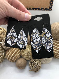 Gray and White Flower Printed Leather Earrings
