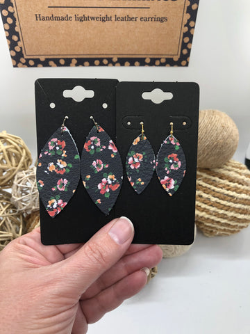 Black Leather Earrings with pink, orange, green, and white flowers