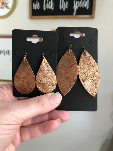 Dark Rose Gold or Copper Crackle Textured Leather