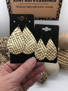 Gold Metallic Basketweave Textured Leather