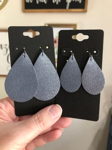 Denim Blue Leather with Silver Dazzle Textured Earrings
