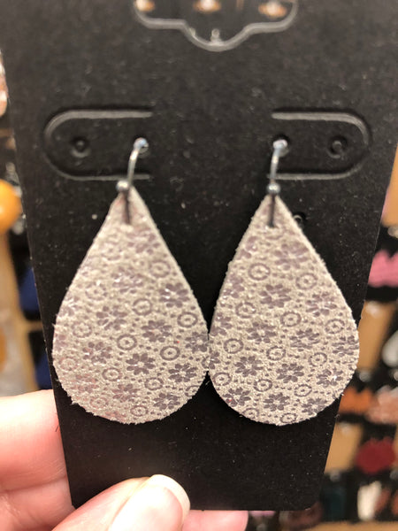 Taupe Suede Leather with a Silver Flower Print Earrings