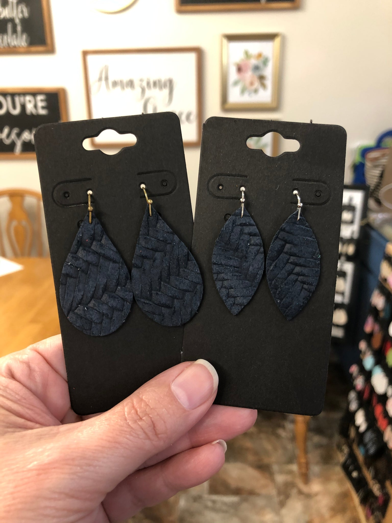 Navy Blue Fishtail Textured Leather Earrings