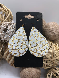 White Leather with a Gold Crackle Metallic Textured Print Earrings