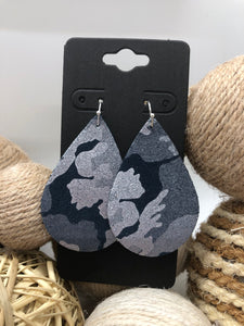 Navy Blue and Silver Camo Leather Earrings