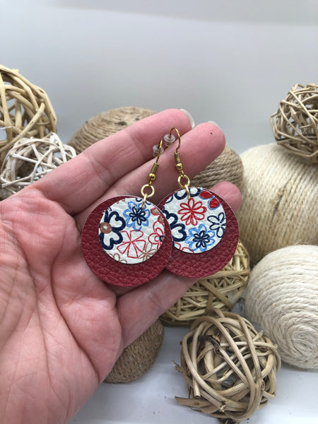 Layered Red and Flowered Circles Leather Earrings