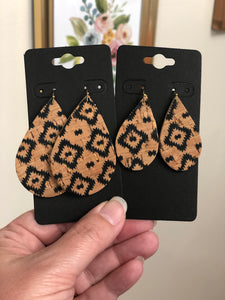 Basic Tan Cork with a Black Aztec Print on Leather Earrings
