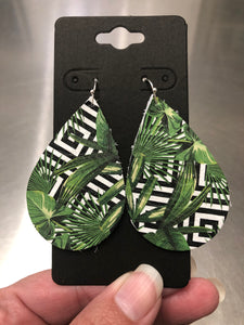 Green Palm Leaf Print on a Black and White Geometric Background Leather Earrings