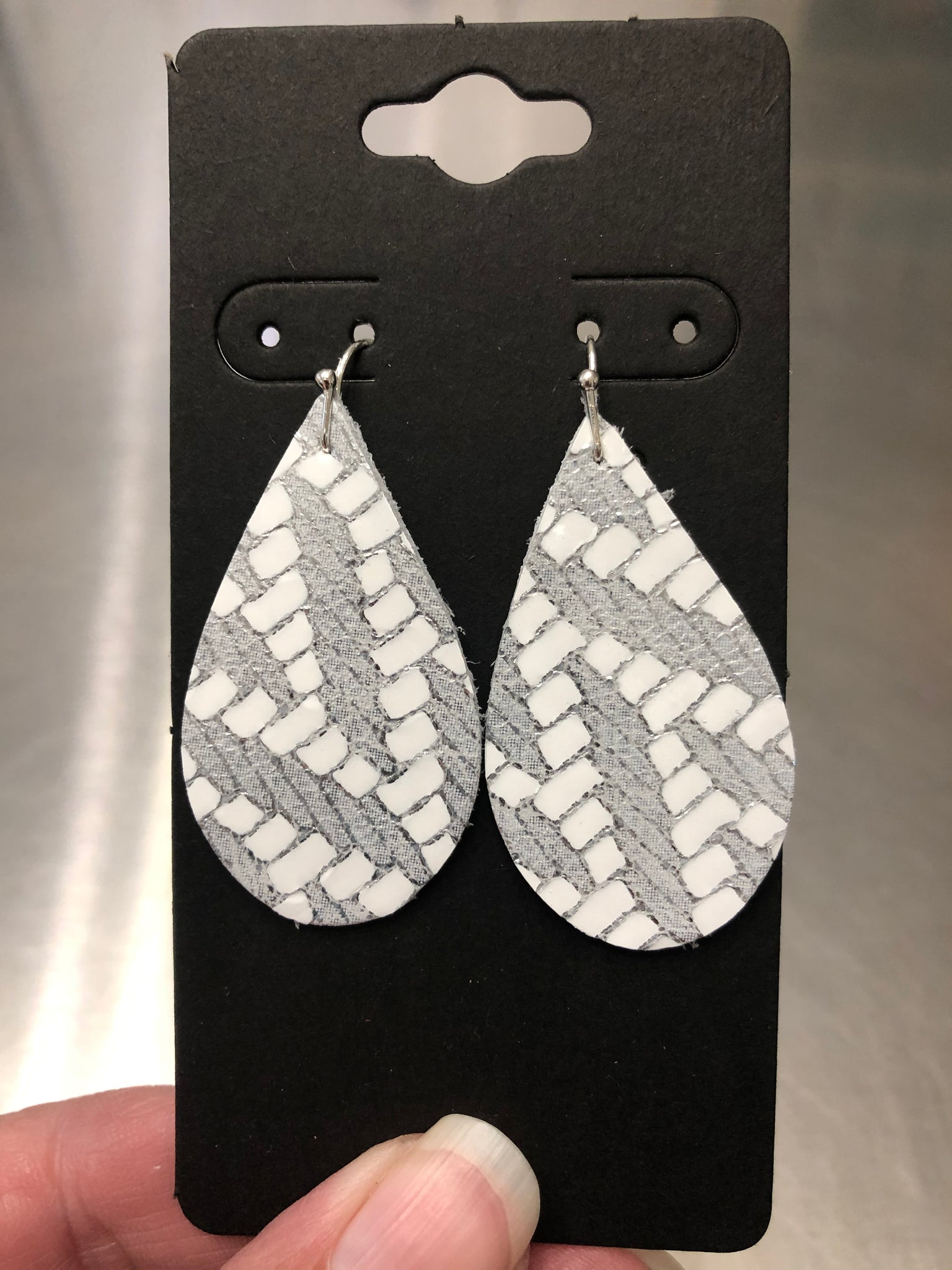 White and Silver Chevron Print Leather Earrings