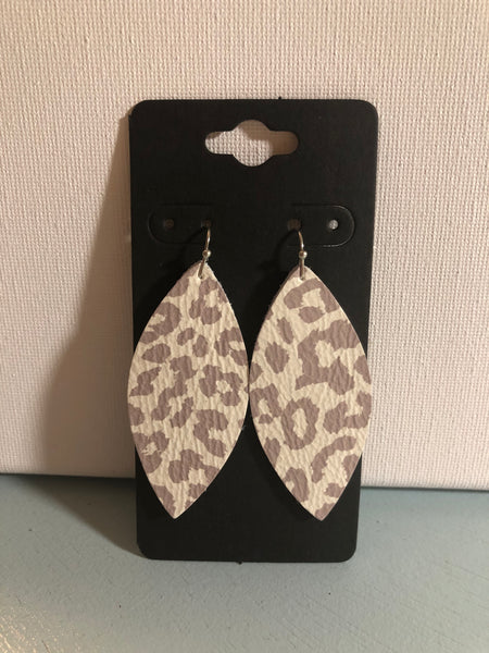 Cream and Taupe Leopard Leather Earrings