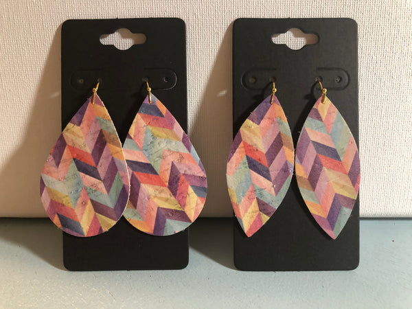 Pink Lavender Blue and Yellow Chevron Print Faux Leather Earrings