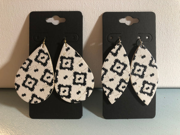 White Cork with a Black Aztec Tribal Print on Leather Earrings