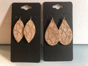 Tan Cork with a Dainty White Flower Print on Leather Earrings