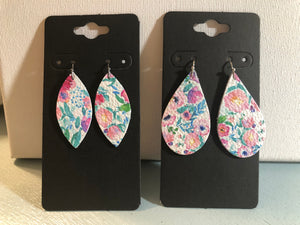 White with Pretty Pinks Blues and Greens Flower Print on Leather Earrings