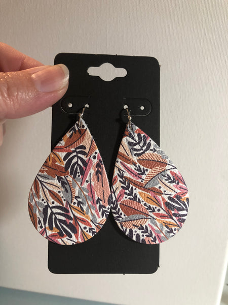 Fall Leaf Print in Rust Mustard Yellow Pink Gray and Plum Leather Earrings