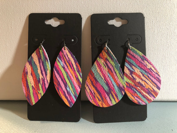 Bright Multi-colored Variegated Stripes Leather Earrings