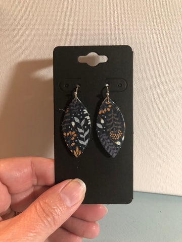 Dark Navy Blue Leather with Cream Gray Tan and Orange Leaves a Flower Print Earrings