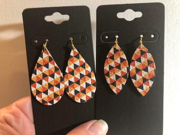 White Black and Orange Triangle Print Leather Earrings