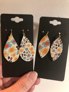 White with Light Blue Black Cream and Orange Leopard Print Leather Earrings